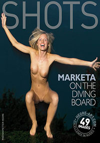 Marketa - has some fun jumping naked on a diving board.